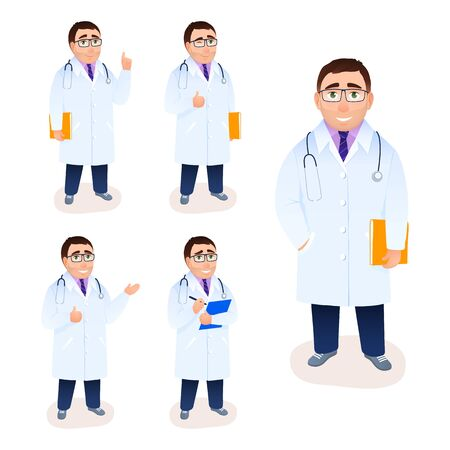 Flat doctor male character on white background. Young Caucasian physician in lab coat. Specialist medical research recipe prescription poses gestures facial expressions. Medicine vector illustration.