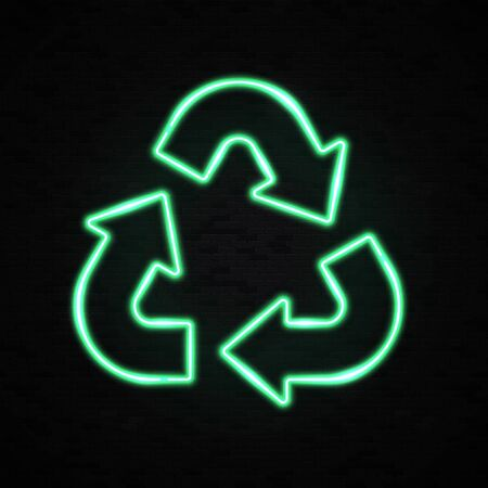 Neon light eco recycle symbol or sign of conservation green icon isolated on black brick background. Glowing reuse recycling triangle arrow. Bright ecology vector illustration symbol on the packaging.