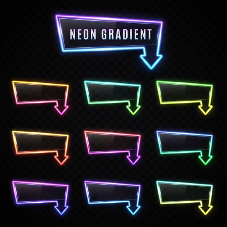Neon rectangle arrow gradient banner set on dark transparent background. Glowing light frame design with plastic plate. Color retro night sign. Led tube technology pointer. Bright vector illustration.
