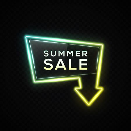 Neon Summer sale sign. Discount arrow banner on dark transparent background. Glowing led lamp border. Shining tube seasonal signboard. Business flyer poster pointer design. Bright vector illustration.