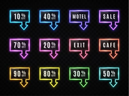 Neon rectangle arrow sale banner set on dark transparent background. Glowing square light frame design with text. Color retro discount night sign Led tube technology pointer Bright vector illustration