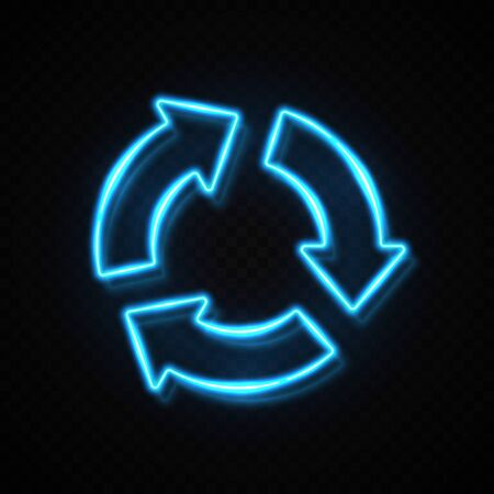 3 arrows in circle blue neon sign on dark transparent background. Reload refresh recycle progress symbol. Business presentation information three round infographic element. Bright vector illustration.