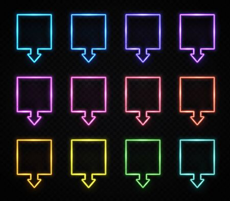 Neon square arrow colorful signs set. Realistic light glowing pointers on transparent background. Location indicator for casino, bar, cinema, night club motel. Bright frame symbols vector illustration