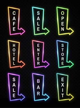 Neon light realistic arrows signs set on transparent background. Gradient pointer signboard cafe, sale, hotel, bar, exit, open, enter, store showing direction. Frame design. Bright vector illustration 矢量图像