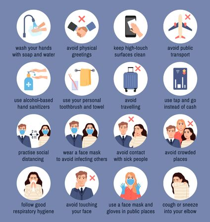 Coronavirus disease Covid-19, flu virus protection icons set in white circles on blue background. Infection prevention tips infographic. Epidemic pandemic health protection Medical vector illustration