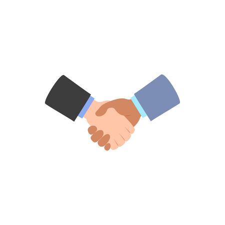 Handshake icon isolated on white. Deal agreement partnership symbol. White, black men shaking hands. Business partners greeting. Hand shake logo people friendship sign. Vector flat style illustration.
