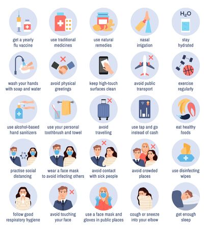 Flu prevention tips. Flat health protection infographic icons set in blue circles on white background. Flu virus, common cold infection coronavirus treatment healthcare and medical vector illustration 矢量图像