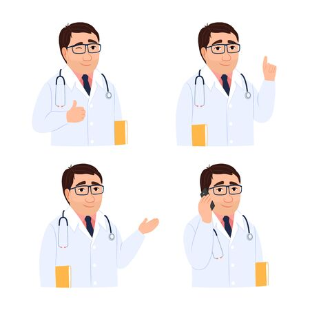 Male doctor icon set isolated on white. Group of doctors portrait with clipboard, hand gesture ok, talking mobile cell phone patient consultation, appointment Medical avatar Health vector illustration 矢量图像