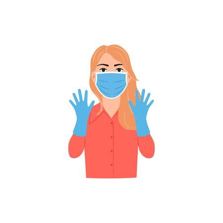 Young woman face with medical mask, hand gloves on. Flu virus coronavirus disease bacteria protection concept. Epidemic prevention pandemic safety flyer icon. Girl in surgical mask vector illustration 矢量图像