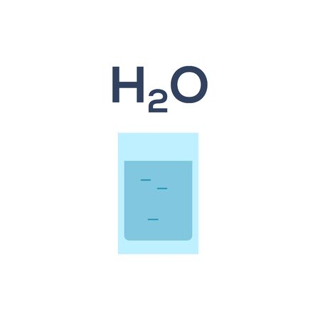 Glass of water H2O icon isolated on white background. Staying healthy lifestyle element design. Keeping hydrated infographic. Drinking water health concept Fresh clean liquid color vector illustration 矢量图像