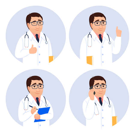 Doctor icon set in circles on white background. Young male physician in uniform with ok gesture warning, makes prescription mobile phone consultation. Flat character avatar medical  illustration 矢量图像
