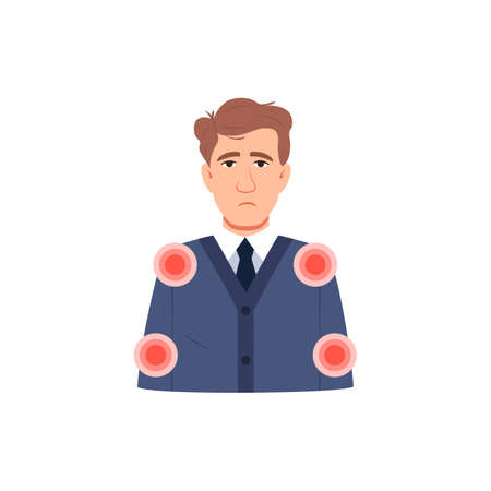 Young sick man has muscle pain symptom. Flat character icon isolated on white. Infected sick person with body aches. Arms joint shoulder, elbow pain.