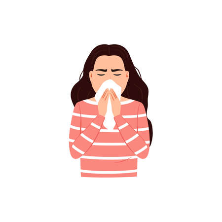Sneezing woman covers mouth and nose with tissue on white background. Cough, sneeze into a handkerchief concept Good respiratory hygiene icon Flu virus cold allergy symptom 矢量图像