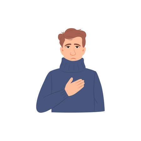 Chest pain symptom flat icon. Sick young man has heart attack isolated on white background. Difficulty breathing. Shortness of breath. Corona virus disease flu sign. Medical people vector illustration