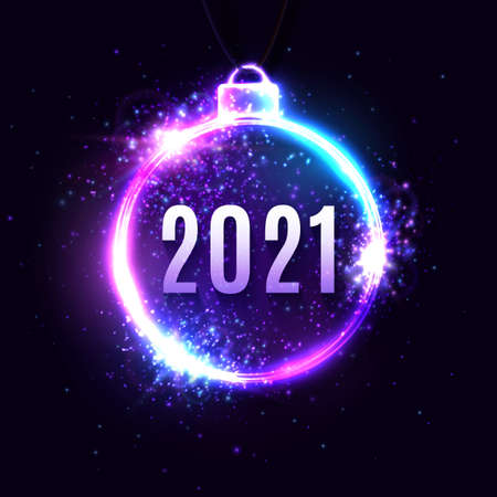 2021 New Year neon text in circle glowing frame on dark blue background. Christmas decoration border. New Year design card for seasonal flyers calendars invitations. Light banner. Vector illustration. 矢量图像