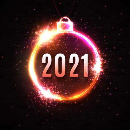 New Year neon sign on dark red background. 2021 glowing text in Christmas ball electric led lamp frame with light sparkles. Celebration party, holiday greeting card design. Bright vector illustration.
