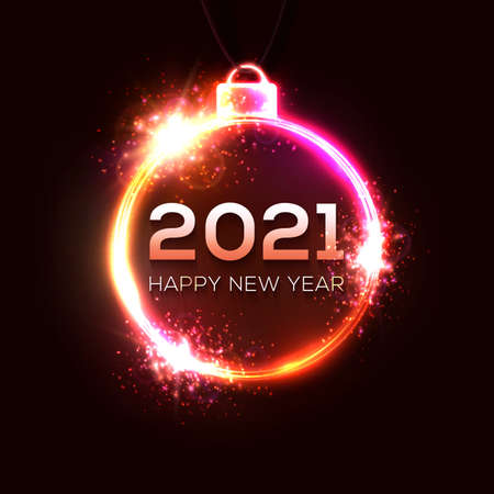 Happy New Year 2021. Technology glowing neon light Xmas decoration with particle star sparkle. Electric celebration circle ball with text. Festive New Year 2021 party sign. Vector holiday illustration