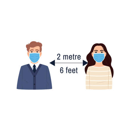 Social distancing icon. Flat people girl and man portraits wearing surgical face mask keep distance 2 meter 6 feet. Health protection concept. Epidemic pandemic prevention. Medical vector illustration