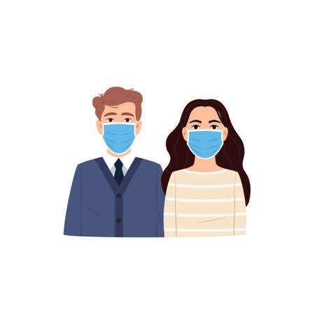 Young people man woman wear protective surgical face mask flat icon. Flu virus coronavirus infectious disease epidemic pandemic health safety sign Cartoon persons in air pollution mask. Medical vector