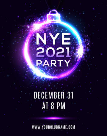 New Year Eve 2021 party poster on dark blue background. NYE beautiful holiday banner, hanging Xmas ball shape electric circle frame. Disco night flyer invitation design template vector illustration.
