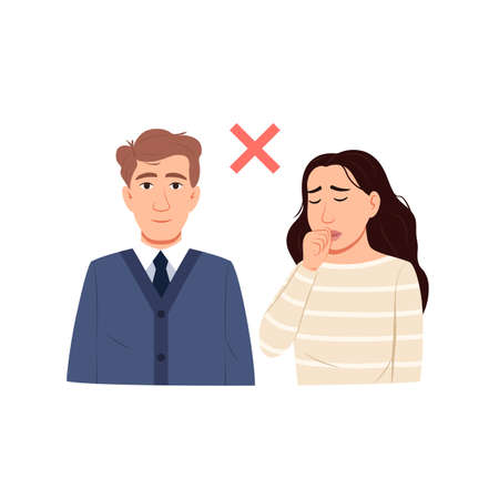 Avoid contact with sick person concept. Epidemic health safety icon. Healthy man sick coughing woman isolated on white background. Virus prevention. Flat people characters. Medical vector illustration