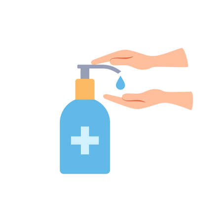 Hand sanitizer bottle flat icon. Hand palms washing gel. Epidemic good hygiene precautions. Antibacterial liquid Virus infection prevention Health safety Color vector icon isolated on white background