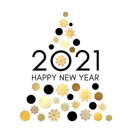 Happy New Year 2021. Abstract Christmas tree with gold and black circles snowflakes isolated on white background. Shining New Year greeting card calendar design with text. Golden vector illustration. Stock Illustratie