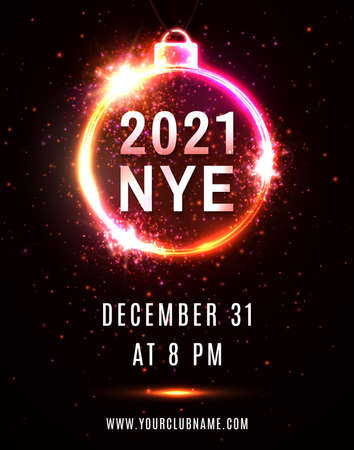 2021 NYE party New Year Eve neon poster template.
