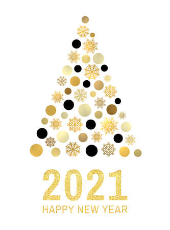 Happy new year 2021 text with Gold glitter greeting card design.