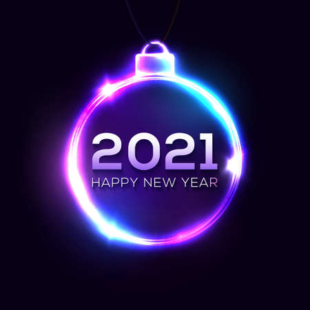 2021 Happy New Year neon light sign on dark blue background. Christmas tree decoration glowing frame with shining celebrating text. Greeting card, banner night club design. Bright vector illustration.