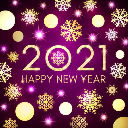 Happy New Year 2021 banner design on dark purple background. Gold texture glowing Christmas circle balls snowflakes stars. Golden New Year celebration greeting card. Holiday party vector illustration.