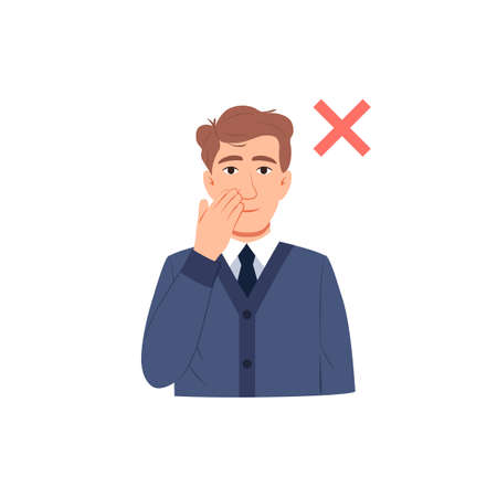 Avoid touching your face flat icon. Man touch his face with his hand. Flu or cold coronavirus virus prevention and protection concept. Respiratory infection transmission. Cartoon vector illustration.