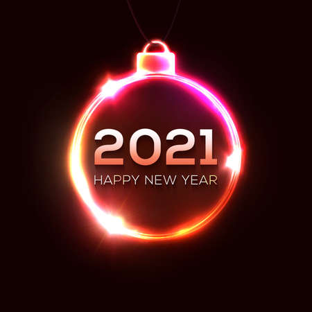Happy New Year 2021 neon light sign. Holiday greeting card or poster design. 3d Xmas ball glowing electric celebration frame. Christmas decoration border. Night party style. Bright vector illustration
