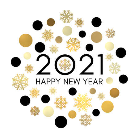 2021 Happy New Year greeting card design. Black celebration text in frame of gold circles and snowflakes. Holiday golden decoration on white background for flyer banner poster calendar. Bright vector.