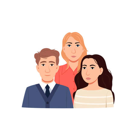 Group of young people isolated on white background. Flat young adults persons. Man woman portraits characters design. Students community. Cartoon male female team icon. Crowd sign vector illustration.