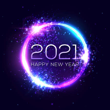 Happy New Year 2021 neon light sign. Holiday greeting card or poster design. Electric celebration circle ball with text star sparkle. Festive New Year 2021 night club sign. Vector holiday illustration