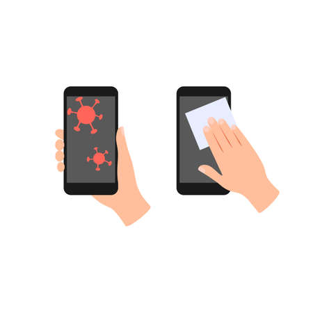 Phone surface disinfection flat icon. Mobile phone with virus germs. Human hands clean and disinfect the surface of device with disinfectant wipes. Cleaning gadget concept Isolated vector illustration