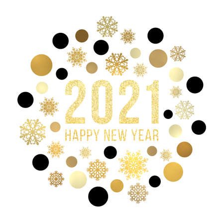 Happy New Year 2021 circle snowflake concept on white background. Gold Christmas greeting card design with golden baubles glitter celebrating text. Winter holiday geometric banner vector illustration.
