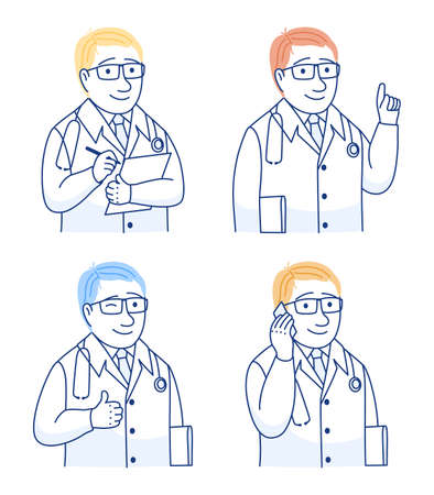 Doctor portraits with checklist mobile phone ok hand gesture. Thin line icons set. Male specialist in white coats. Medical workers, medics, paramedics surgeons physicians. Outline vector illustration.