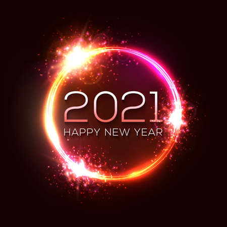 Happy New Year 2021 circle neon sign on dark red celebration background. Holiday greeting card design with glowing text stars. Dark night club party style. Light tube decoration vector illustration.