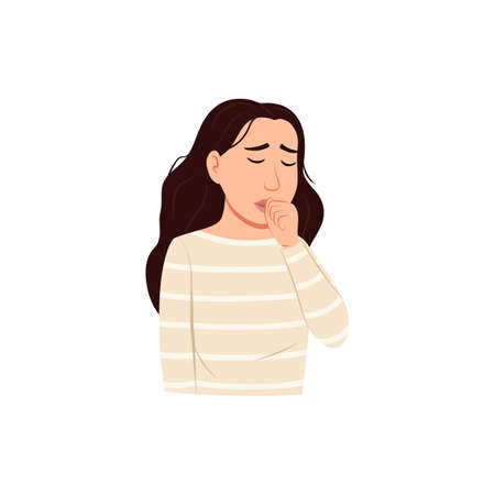 Young woman coughing into fist in front of mouth. Isolated flat icon infographic. Sick person cough portrait. Influenza virus allergy flu cold disease symptom Cartoon health safety vector illustration