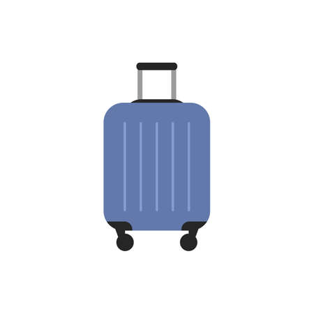 Blue travel plastic suitcase icon with black wheels and handle isolated on white background. Luggage flat sign or logo. Trip vacation element design Baggage symbol icon infographic vector illustration Stock Illustratie