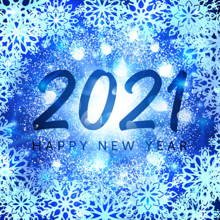 Happy New Year 2021 banner on blue glittering snowflakes background. Greeting card design with glowing abstract particles light flash stars New Year celebration. Holiday decoration vector illustration