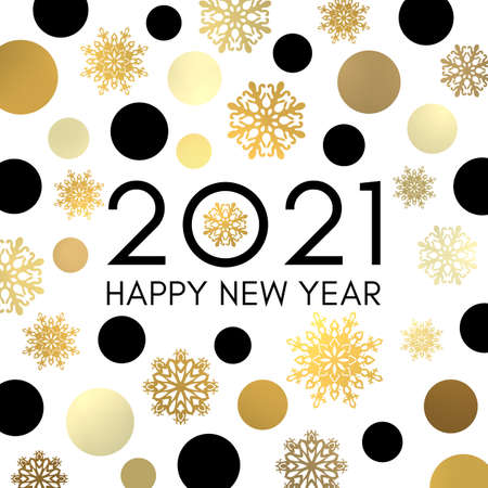 2021 Happy New Year banner or greeting card design. Black celebration text in frame of gold circles snowflakes. Holiday golden decoration on white background for flyer Bright vector square composition Stock Illustratie