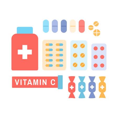 Medicine, drugs, pharmacy hospital icons set isolated on  white