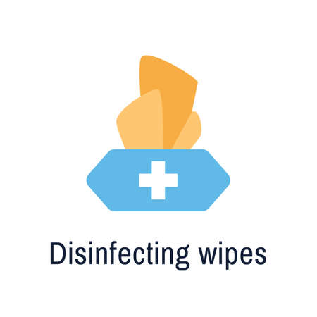 Disinfectant wipes isolated flat icon isolated on  white Stock Illustratie