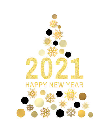 Happy New Year 2021 gold glittering greeting card on white