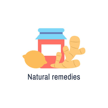 Natural medicine  design isolated flat icon. Natural treatment sign. Lemon, ginger, berry jam, honey. Flu or cold medicine. Natural organic health care product Virus prevention vector illustration Stock Illustratie
