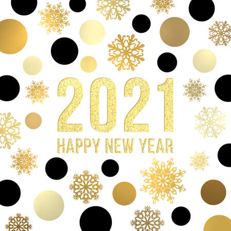 2021 Happy New Year background. Golden black circles snowflakes glittering glowing gold celebrating text. Square greeting card design template. Bright shining New Year decoration vector illustration.