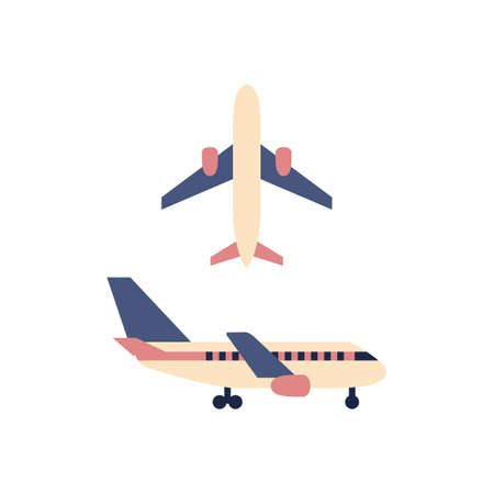Plane icon isolated on white background. Color flat airplane sign or design. Travel symbol set. Flight aircraft transportation aviation concept. Minimal vector illustration. Stock Illustratie